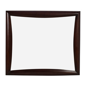 Square Curved Wooden Frame Mirror second hand