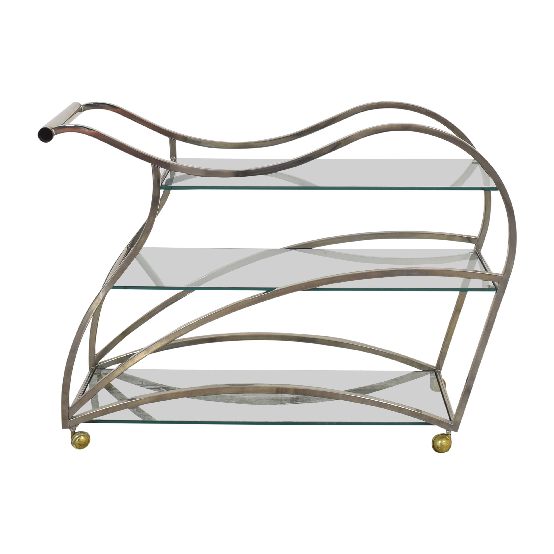 Design Institute America Milo Baughman-Style Modern Tea Cart Tables