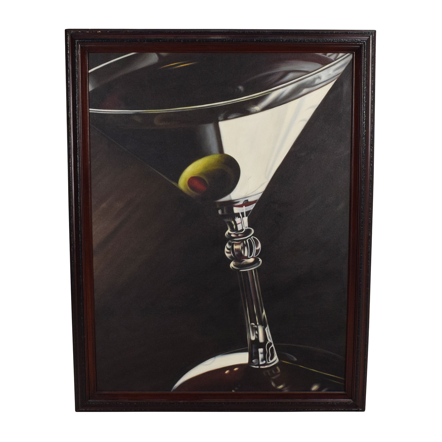 Lithograph of Martini Glass with Olive Wall Art