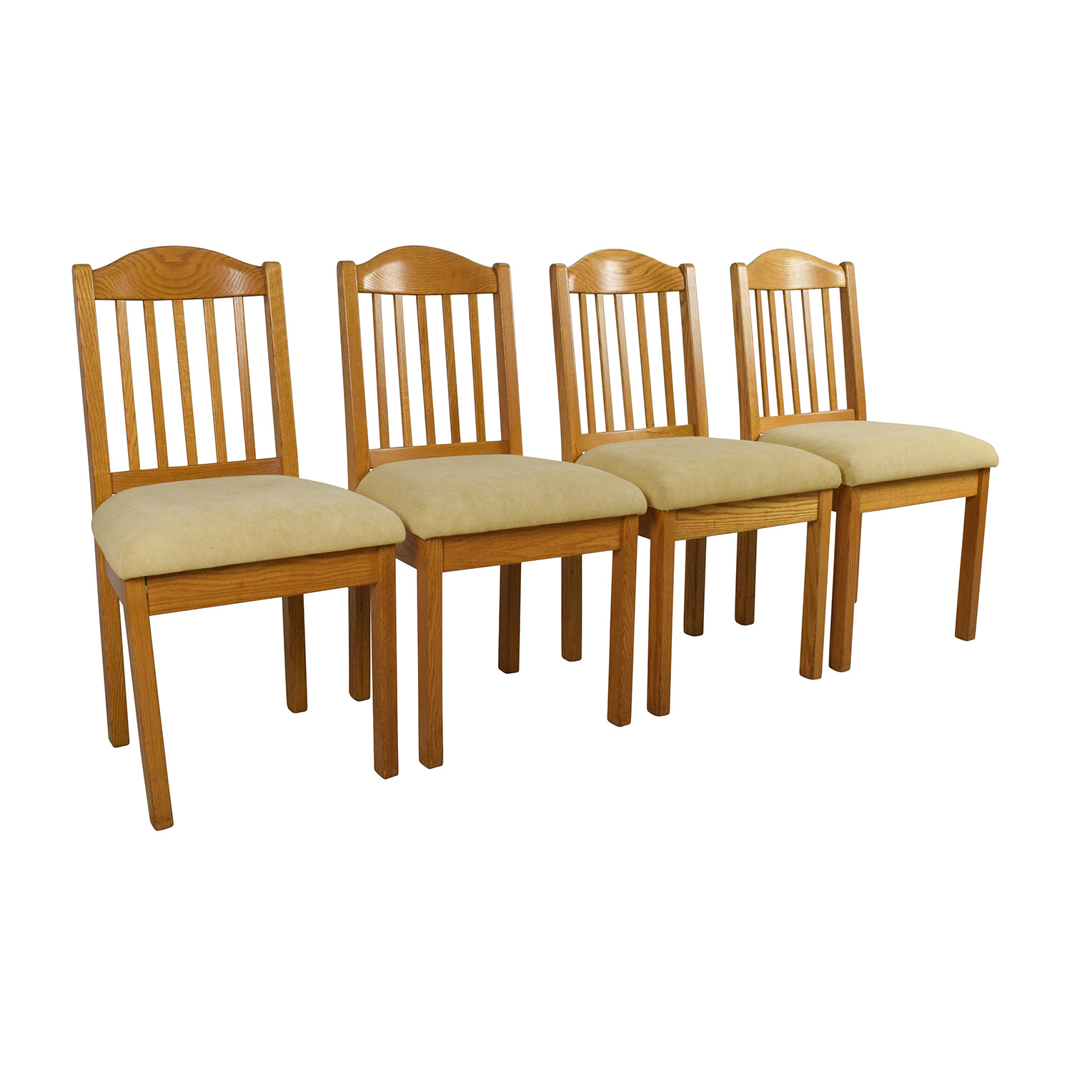 Off set of wood dining chairs