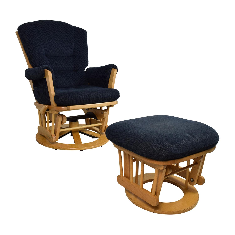 shop dutailier navy sleigh reclining glider and ottoman dutailier accent chairs - Reclining Glider