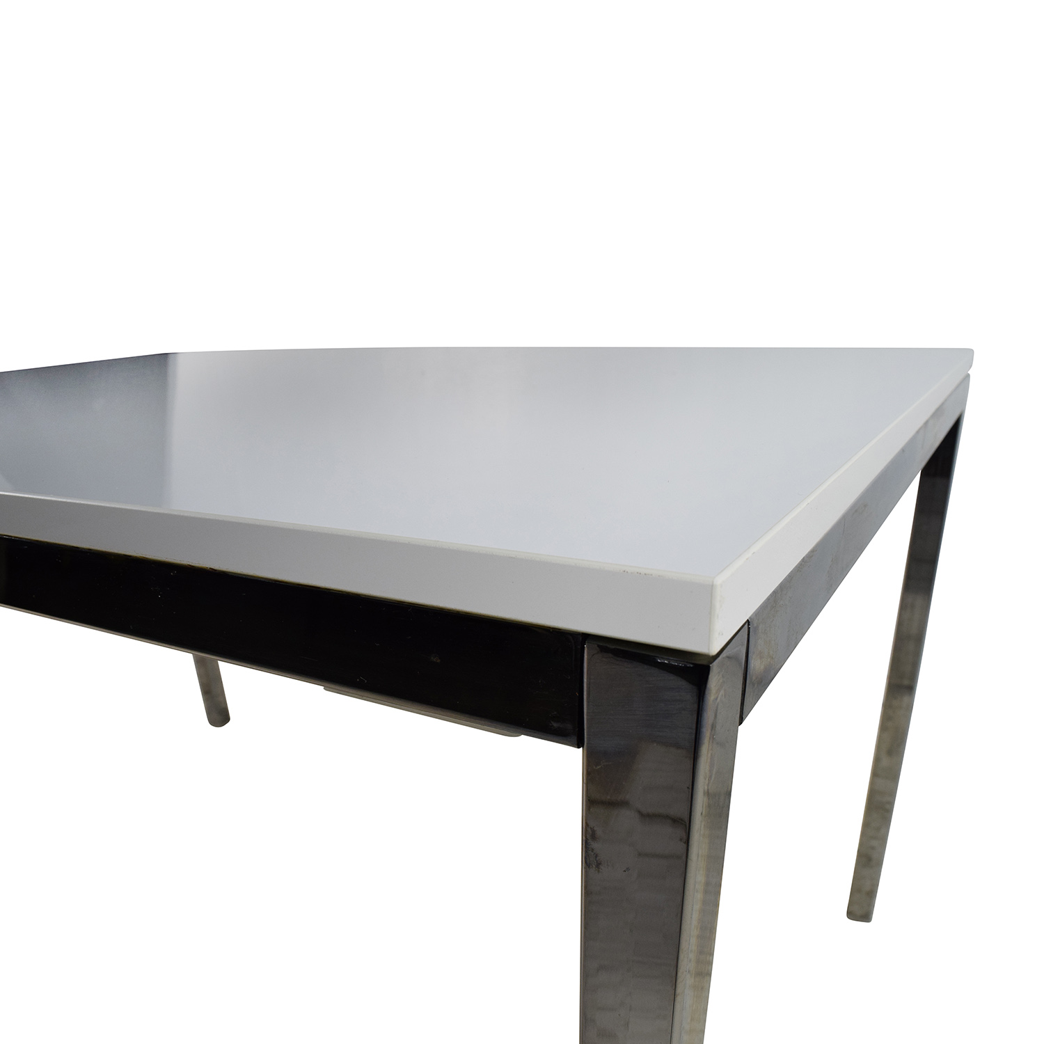 57% OFF IKEA IKEA White Top Dining Table with Silver Chrome Legs