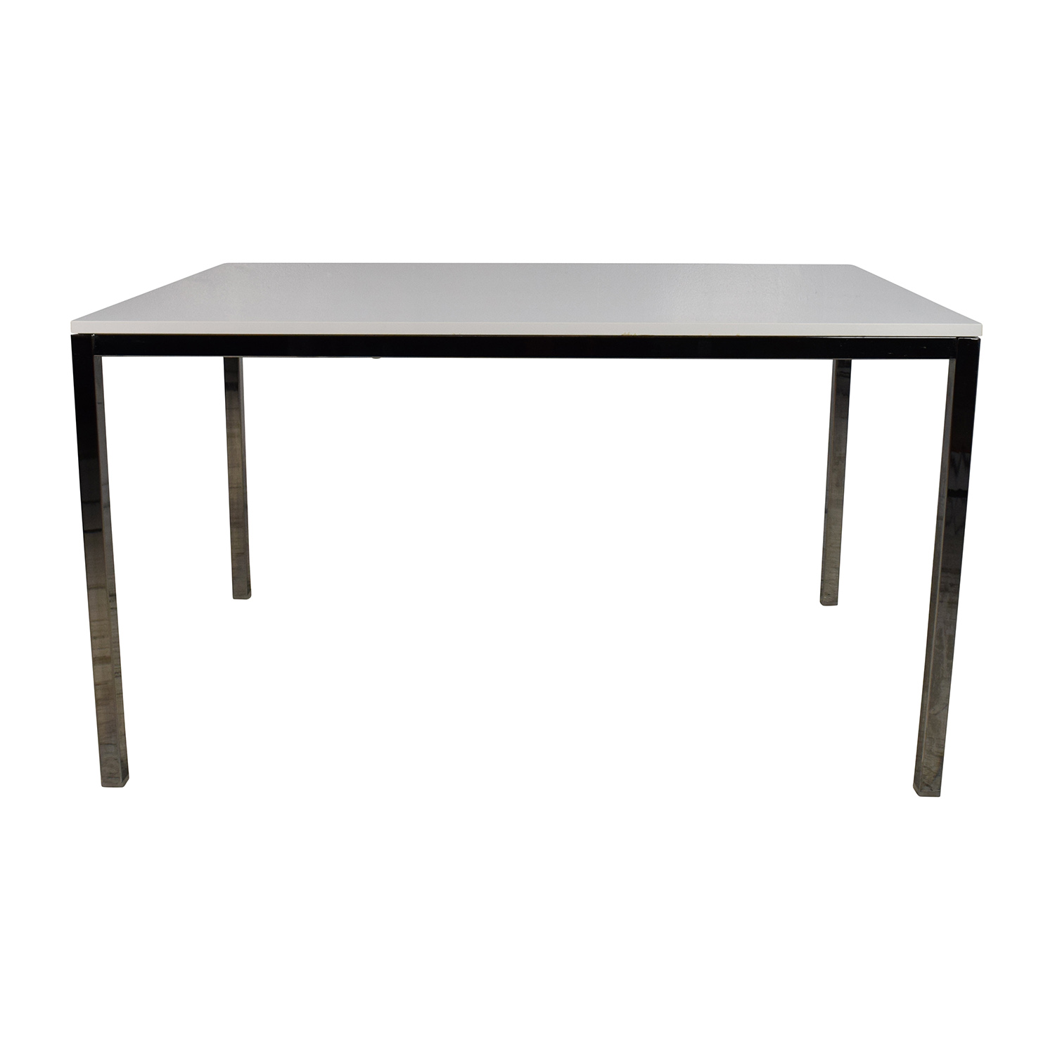 IKEA IKEA White Top Dining Table with Silver Chrome Legs Dinner Tables