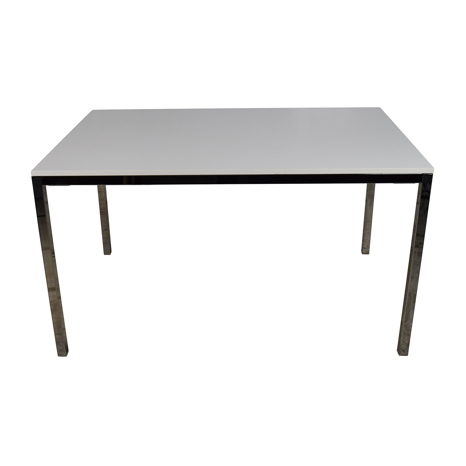 IKEA White Top Dining Table with Silver Chrome Legs / Dinner Tables