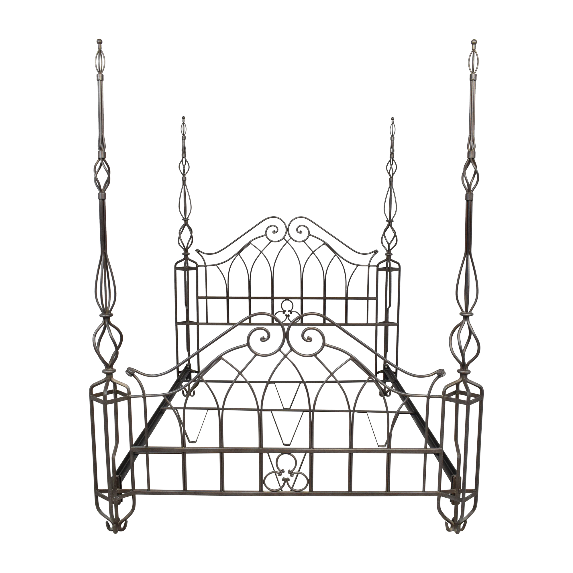 buy Wrought Iron Style Queen Poster Bed  Bed Frames