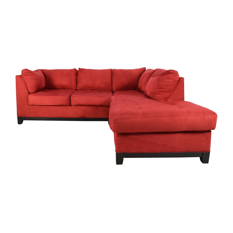 67% OFF   Raymour U0026 Flanigan Raymour U0026 Flanigan Zella Red Sectional / Sofas