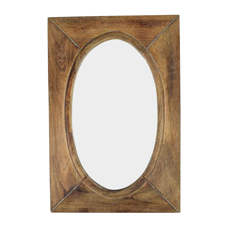 World Market World Market Rustic Wood Shandi Oval Mirror discount