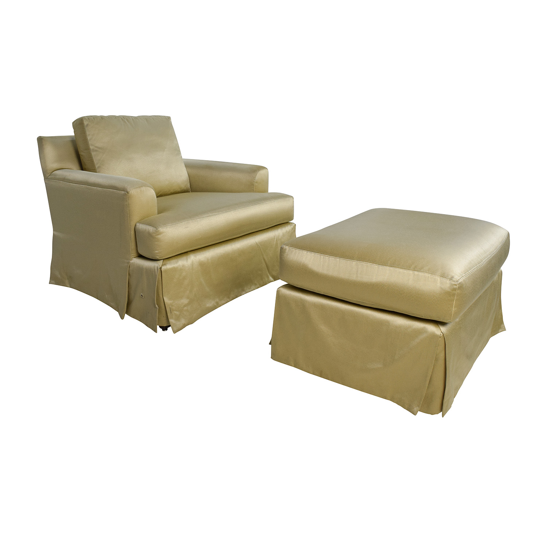 ... ABC Carpet And Home ABC Carpet U0026 Home Gold Sofa Chair With Matching  Ottoman Nj ...