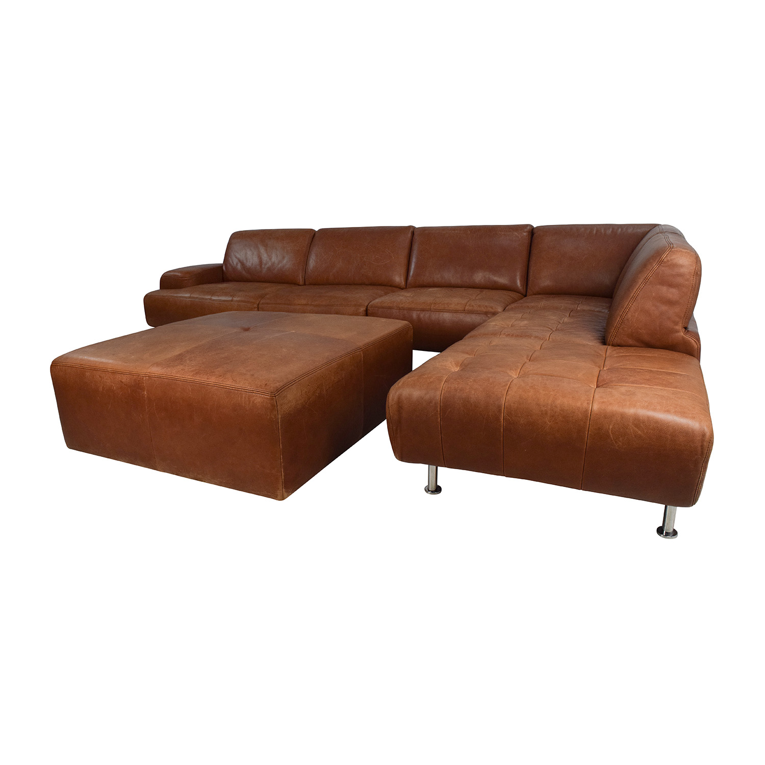 53 off w schillig w schillig leather sectional and ottoman sofas. Black Bedroom Furniture Sets. Home Design Ideas
