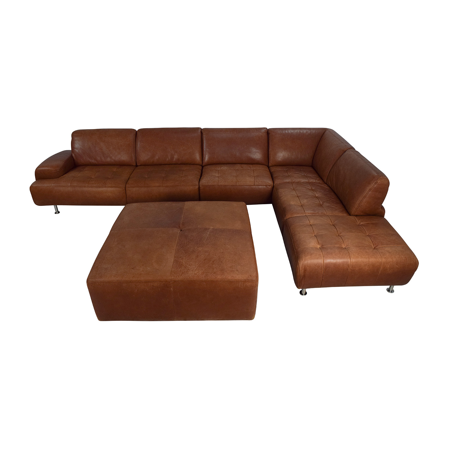 W. Schillig Leather Sectional and Ottoman W.Schillig