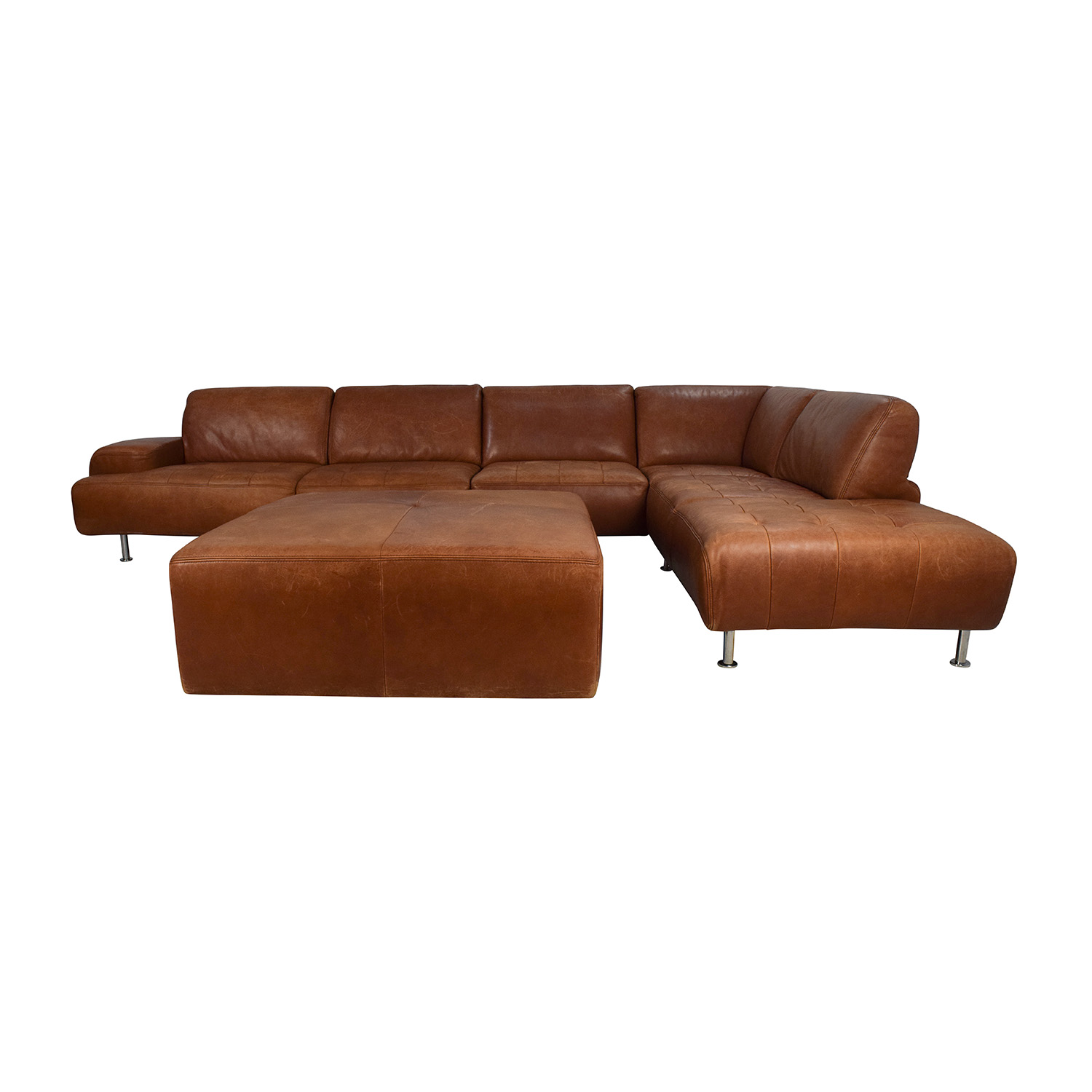 W.Schillig W. Schillig Leather Sectional and Ottoman discount