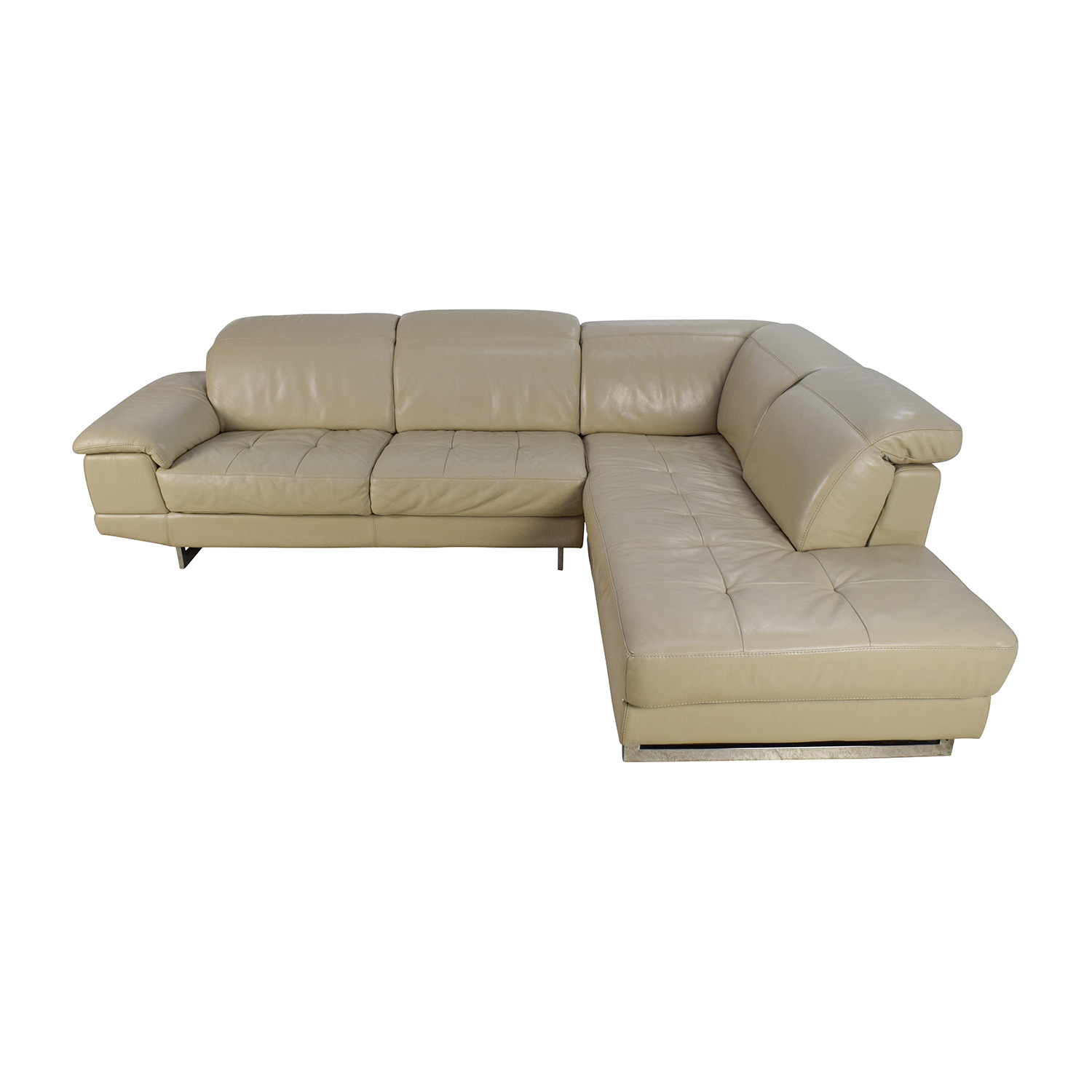 Beige Italian Leather Couch with Adjustable Headrests nj