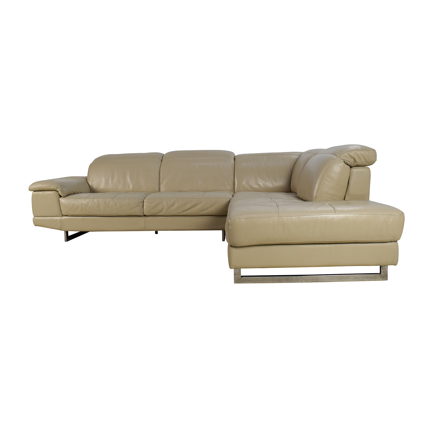 Beige Italian Leather Couch with Adjustable Headrests second hand