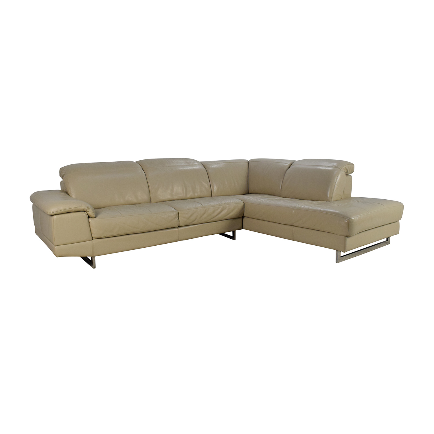 83% OFF Beige Italian Leather Couch with Adjustable Headrests