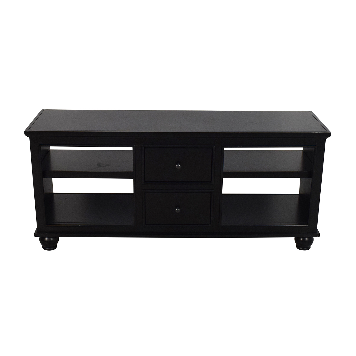90% OFF   Black Wooden Media Stand With 2 Drawers / Storage