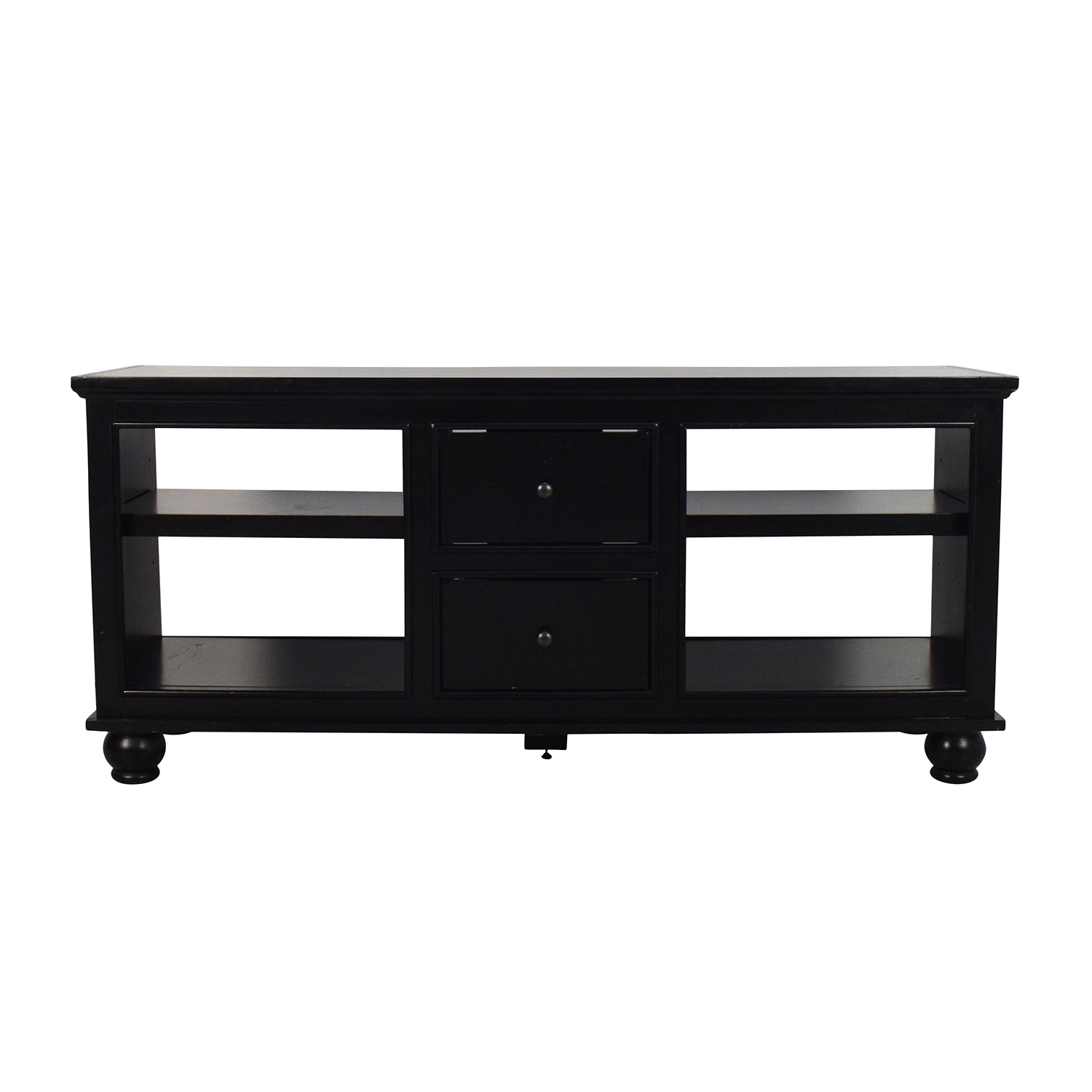 Black Wooden Media Stand with 2 Drawers used