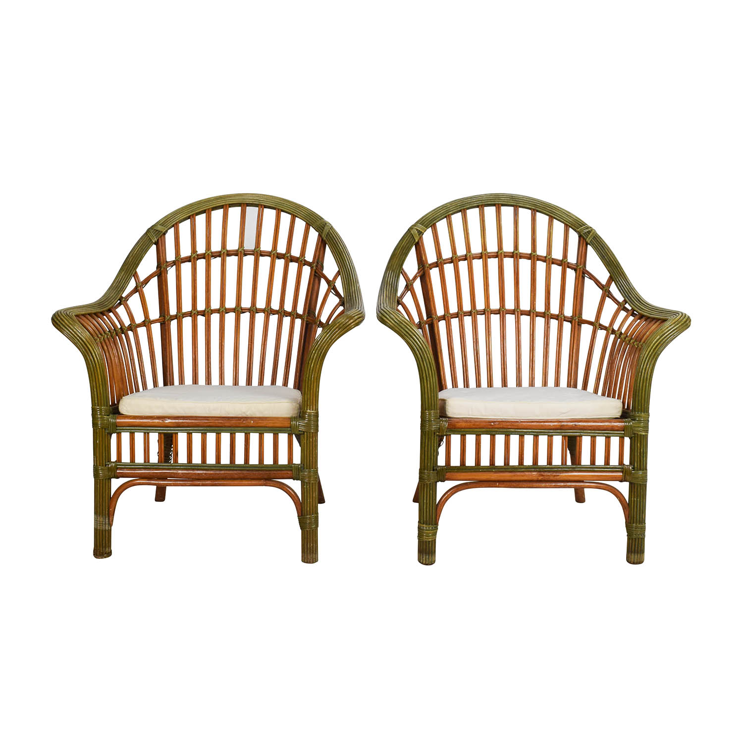 Pair Of Wicker Arm Chairs With Cushions on sale