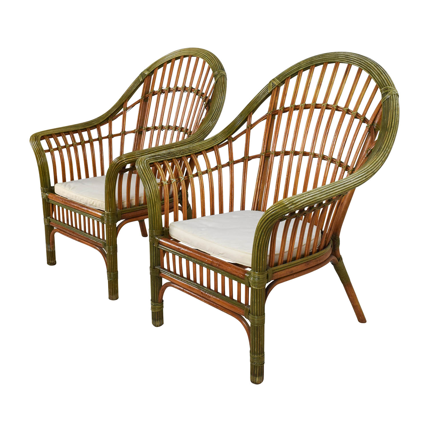 61% OFF - Pair Of Wicker Arm Chairs With Cushions / Chairs