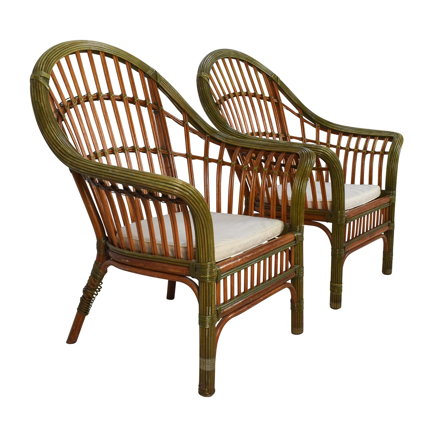 Pair Of Wicker Arm Chairs With Cushions