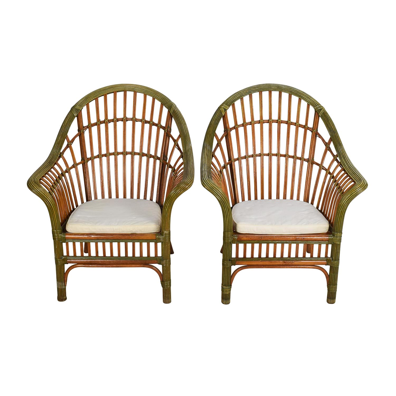 Pair Of Wicker Arm Chairs With Cushions second hand