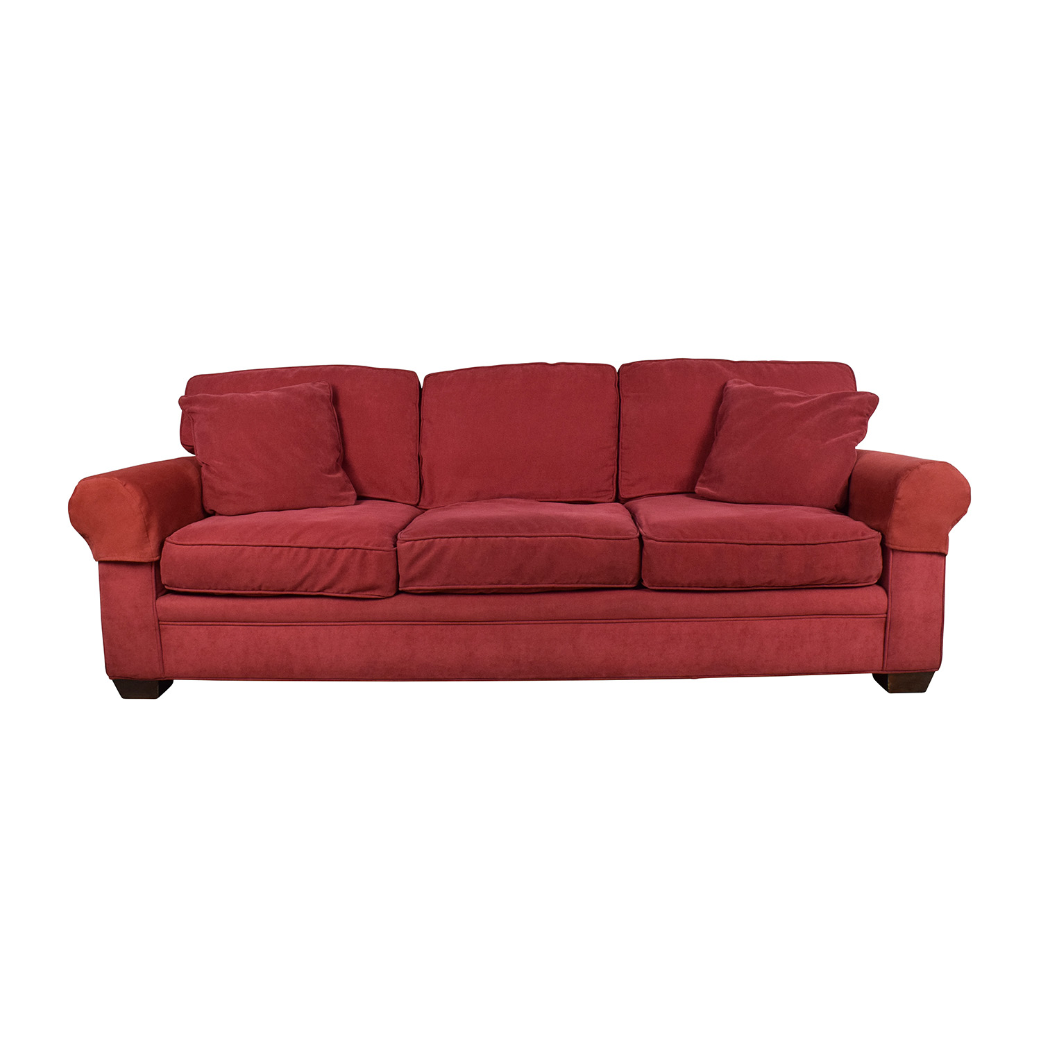 Crate And Barrel Microfiber Suede Burgundy Couch Red