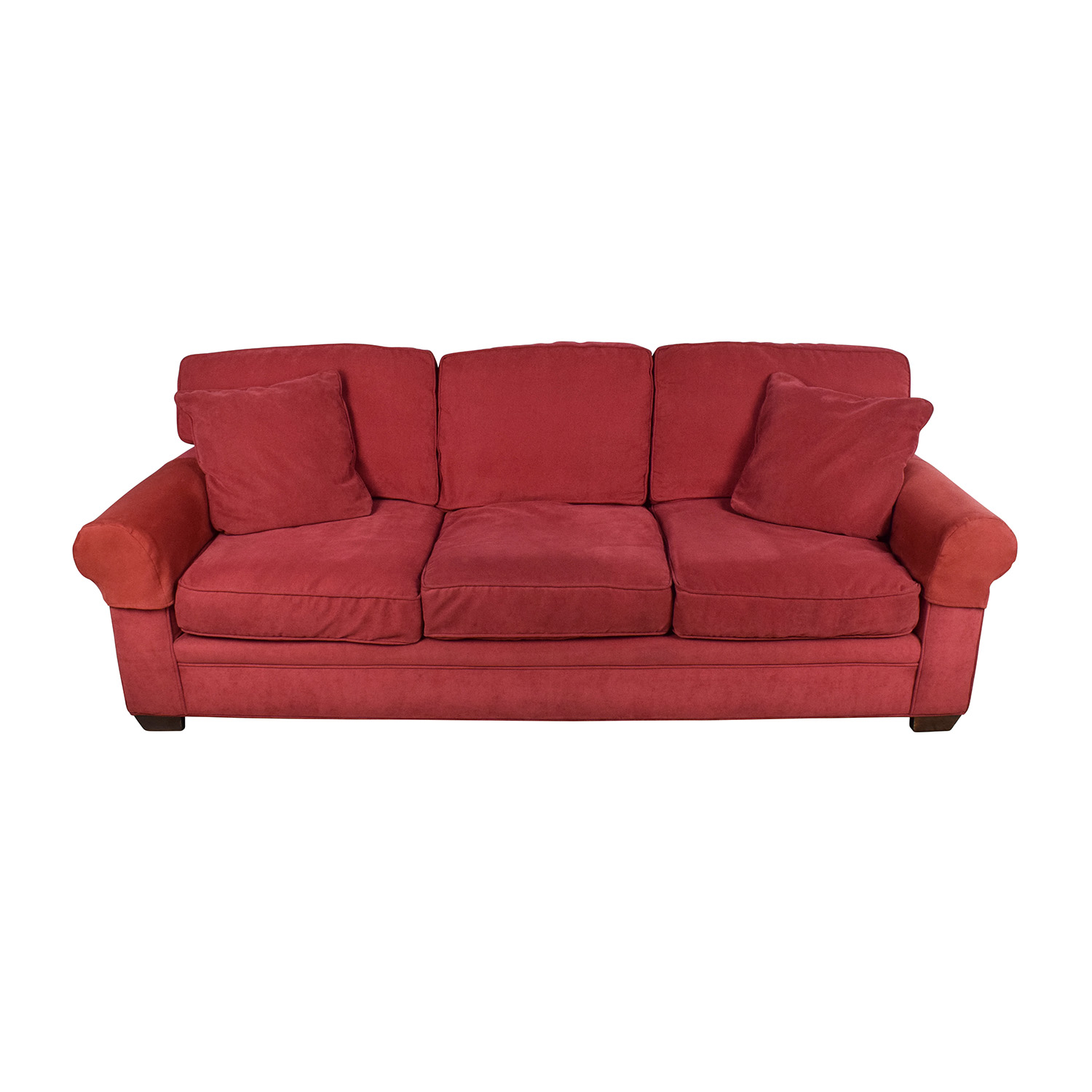shop Crate and Barrel Crate & Barrel Microfiber Suede Burgundy Couch online
