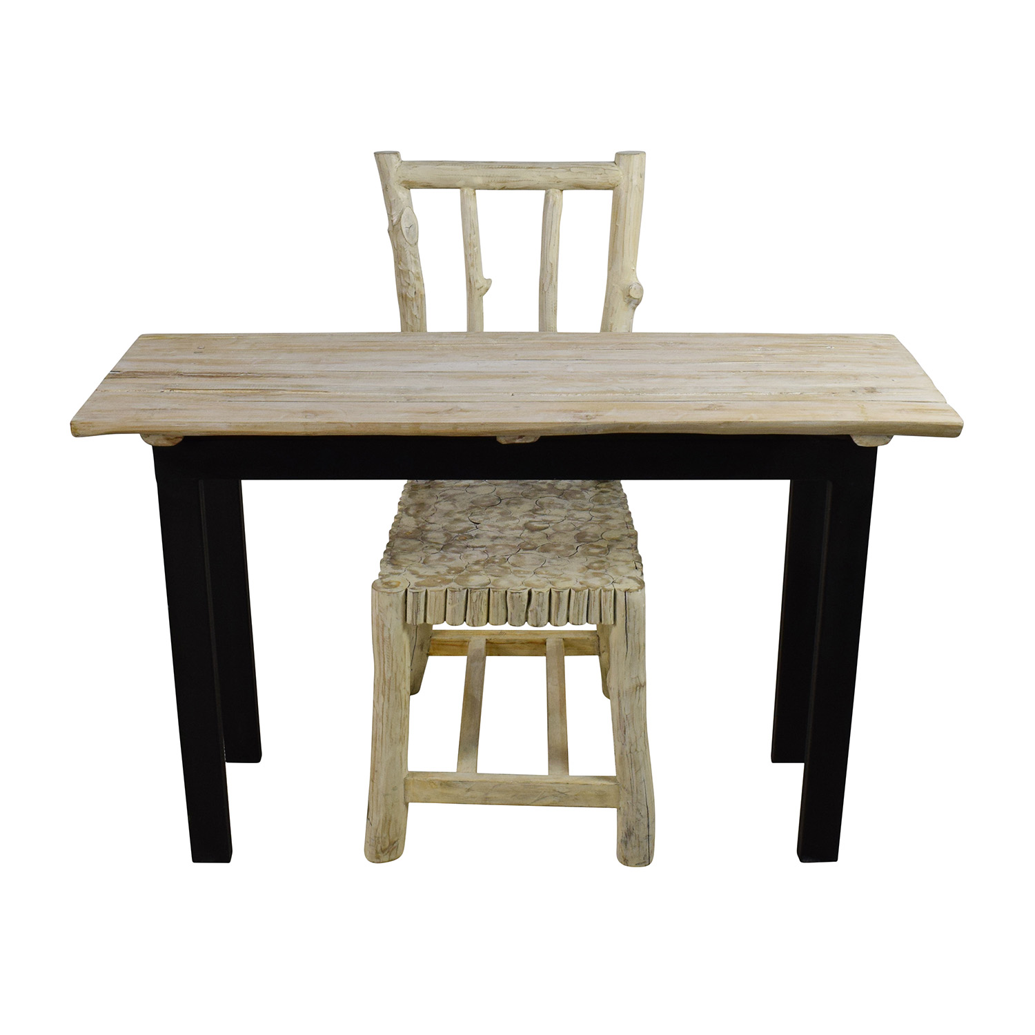 90% OFF Nadeau Nadeau Handcrafted Rustic Table and Chair Tables