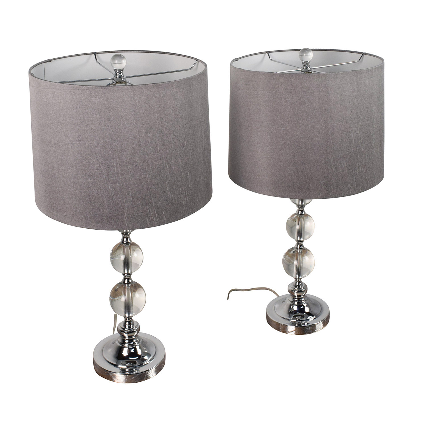 Pair of Glass Ball Base Table Lamps with Gray Shades