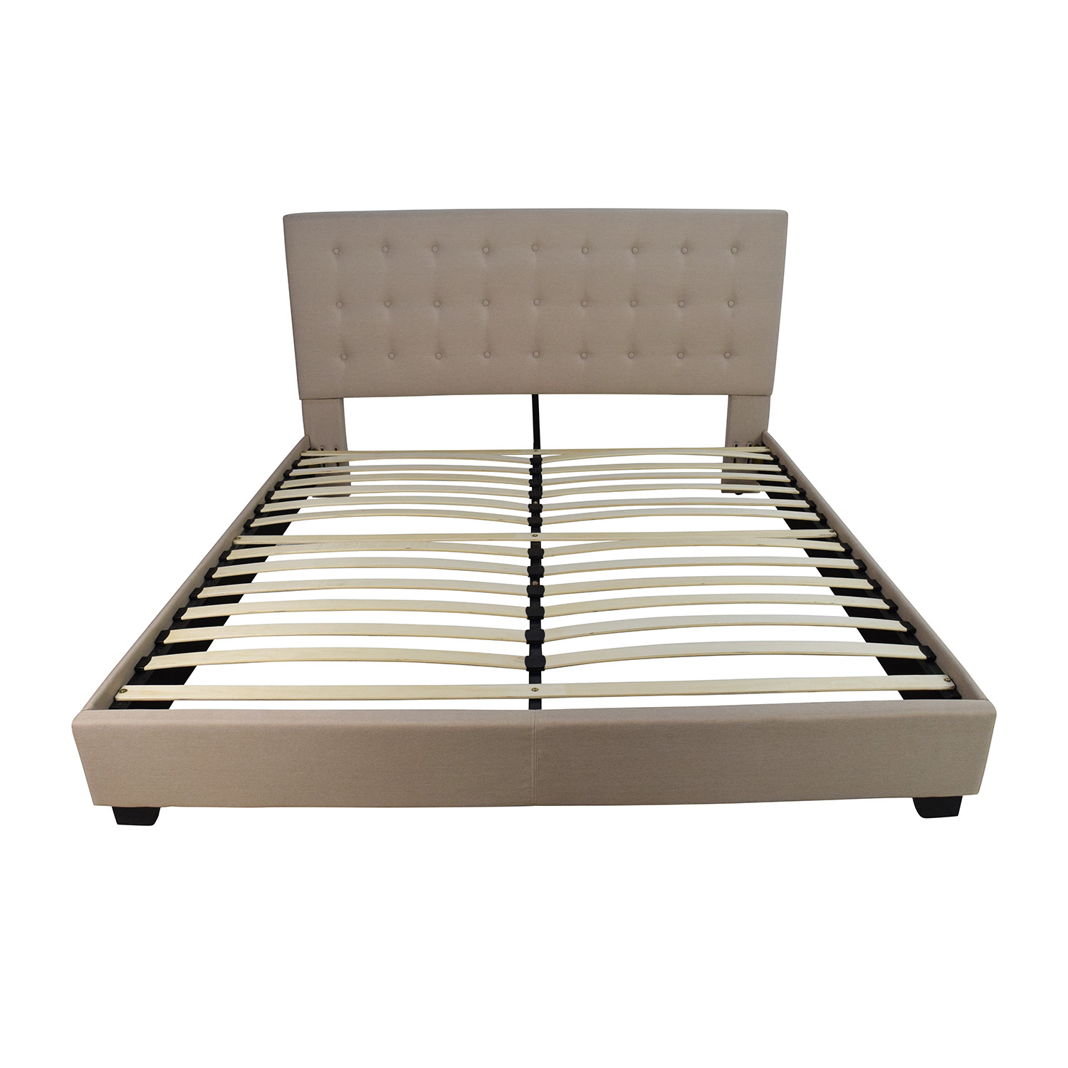 king size taupe cloth bed frame for sale - Used Bed Frames