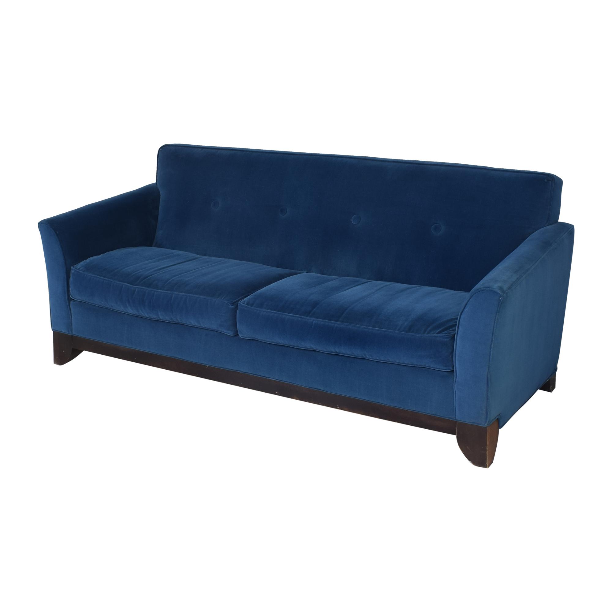 Rowe Furniture Rowe Furniture Two Cushion Sofa blue and dark brown