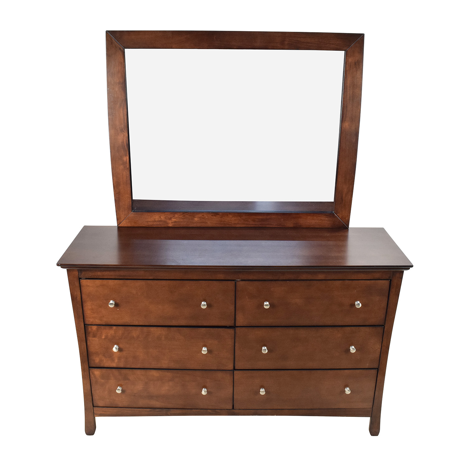 57 Off Large Brown Wood Dresser With Mirror Storage