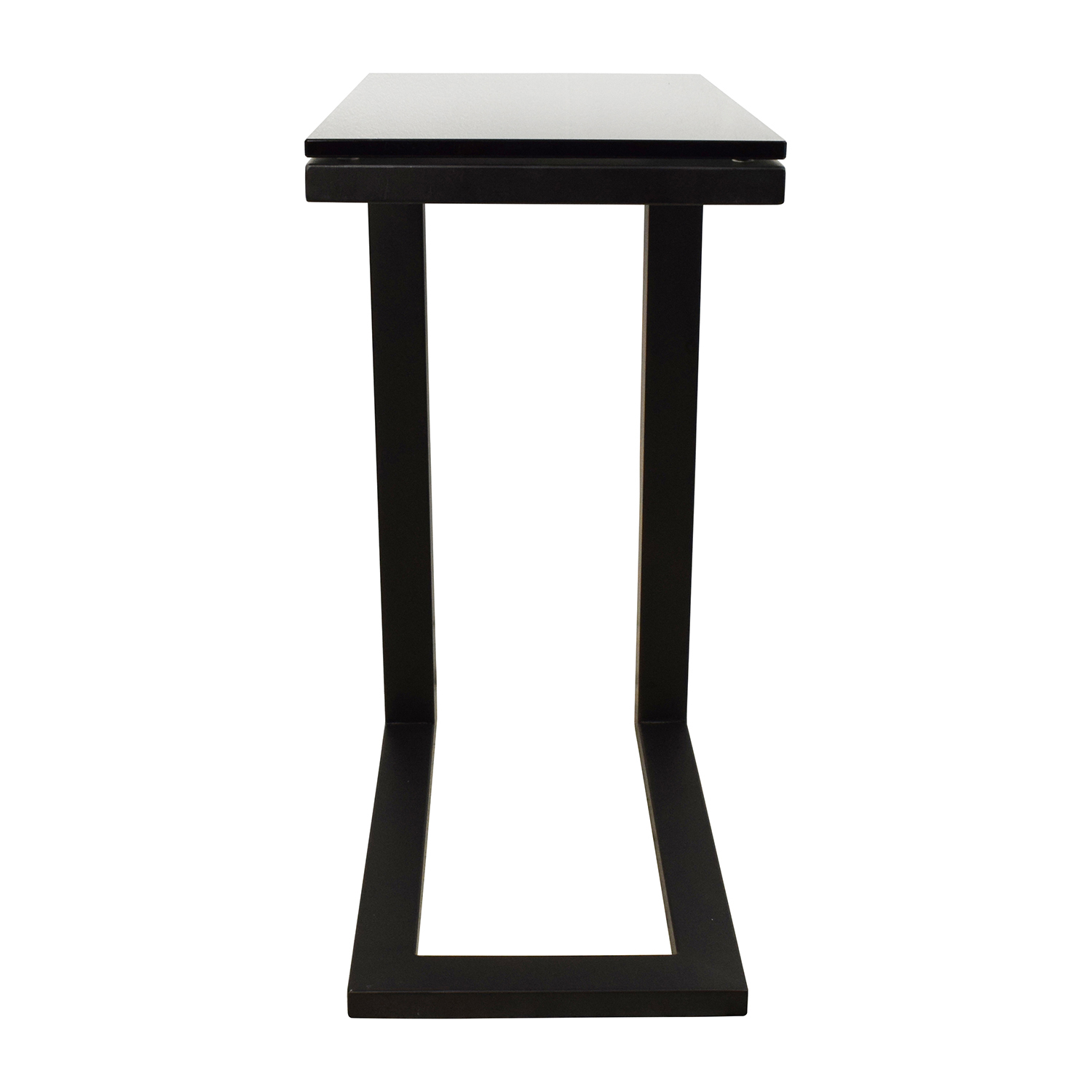 buy Crate and Barrel Crate & Barrel Parsons Glass Top Black Steel Base C Table online