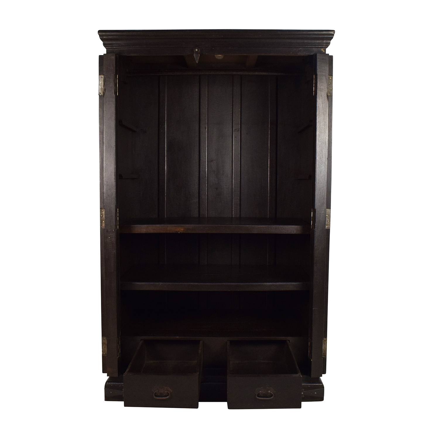 Large Carved Wooden Armoire nj