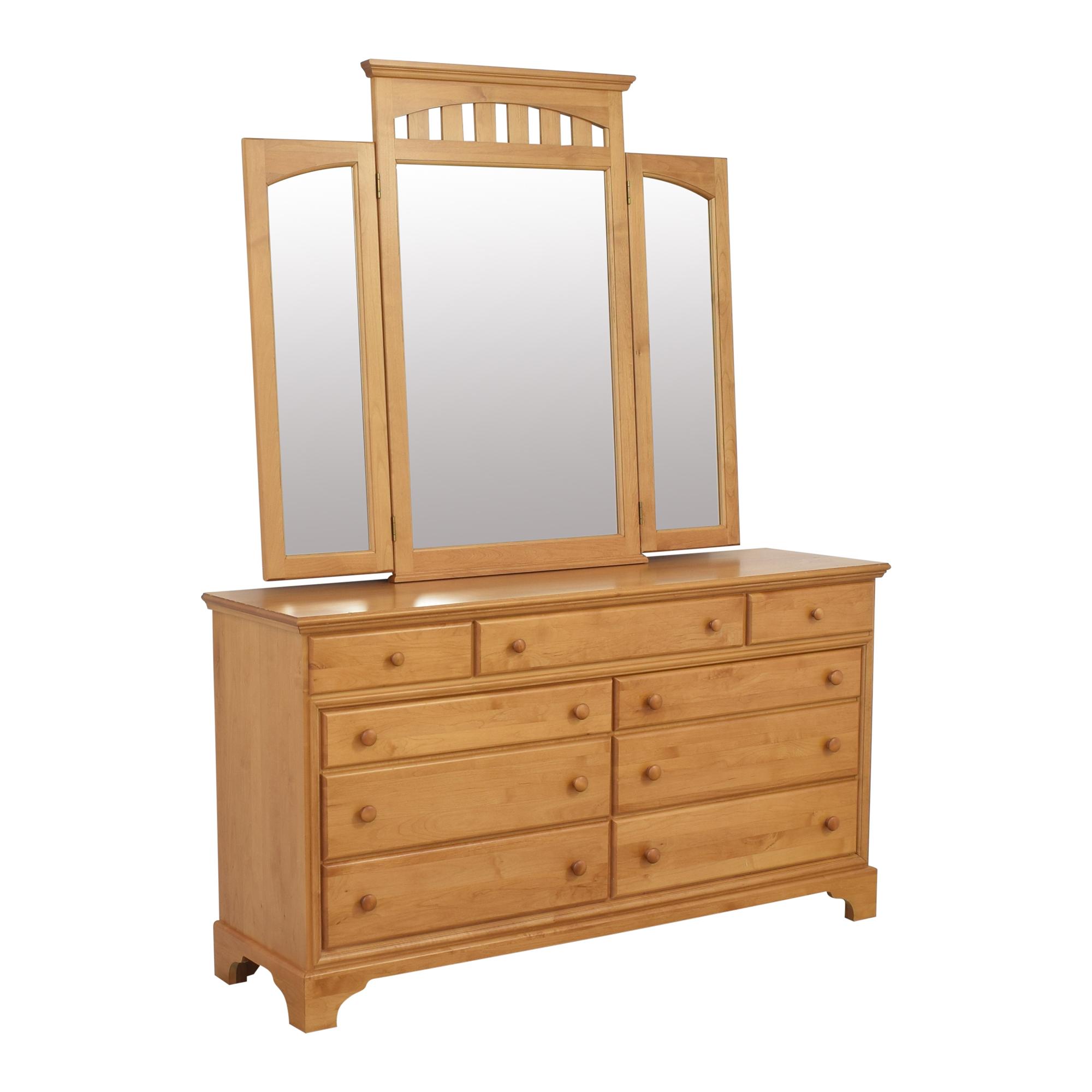 Nine Drawer Dresser with Trifold Mirror Dressers