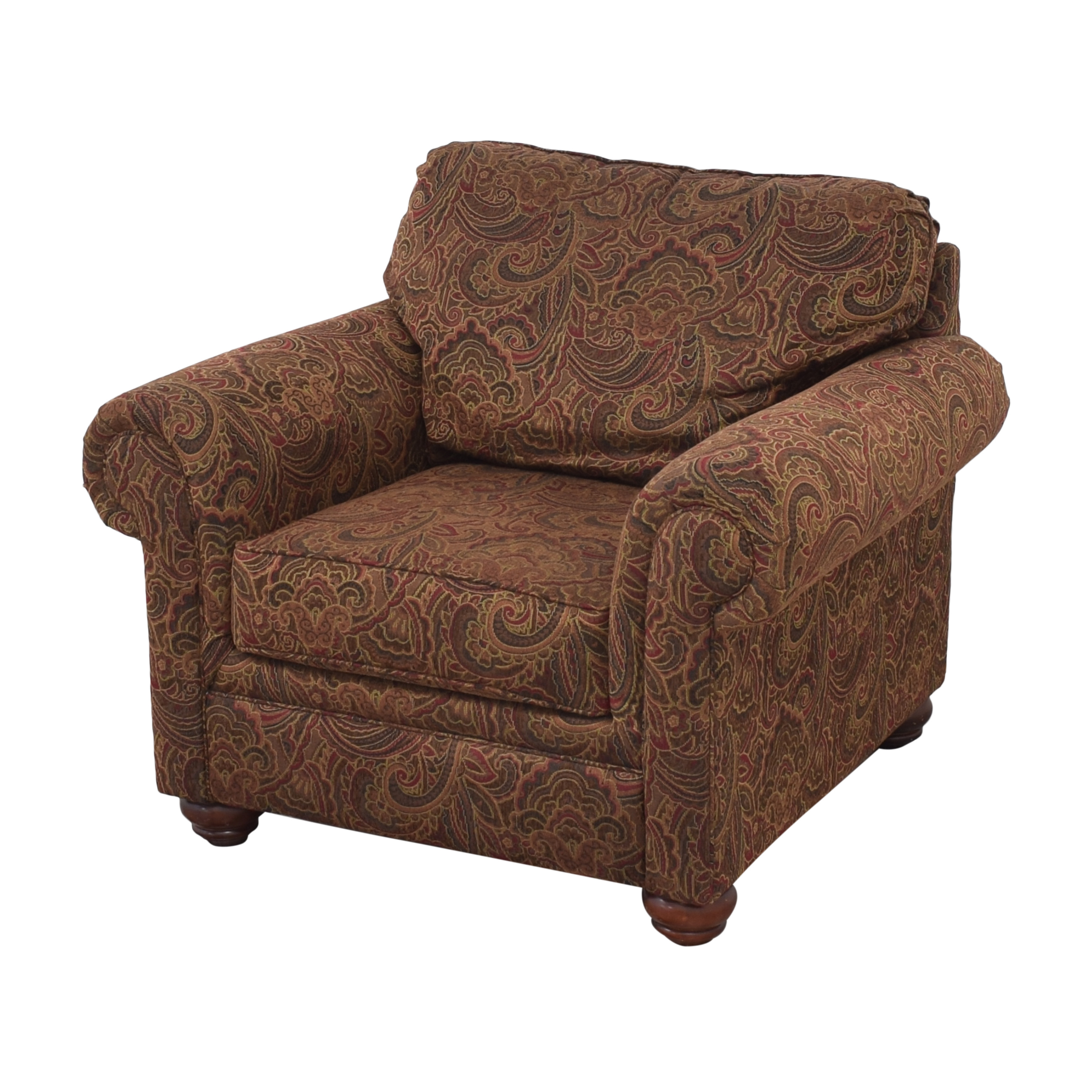 Broyhill Furniture Roll Arm Accent Chair and Ottoman Broyhill Furniture