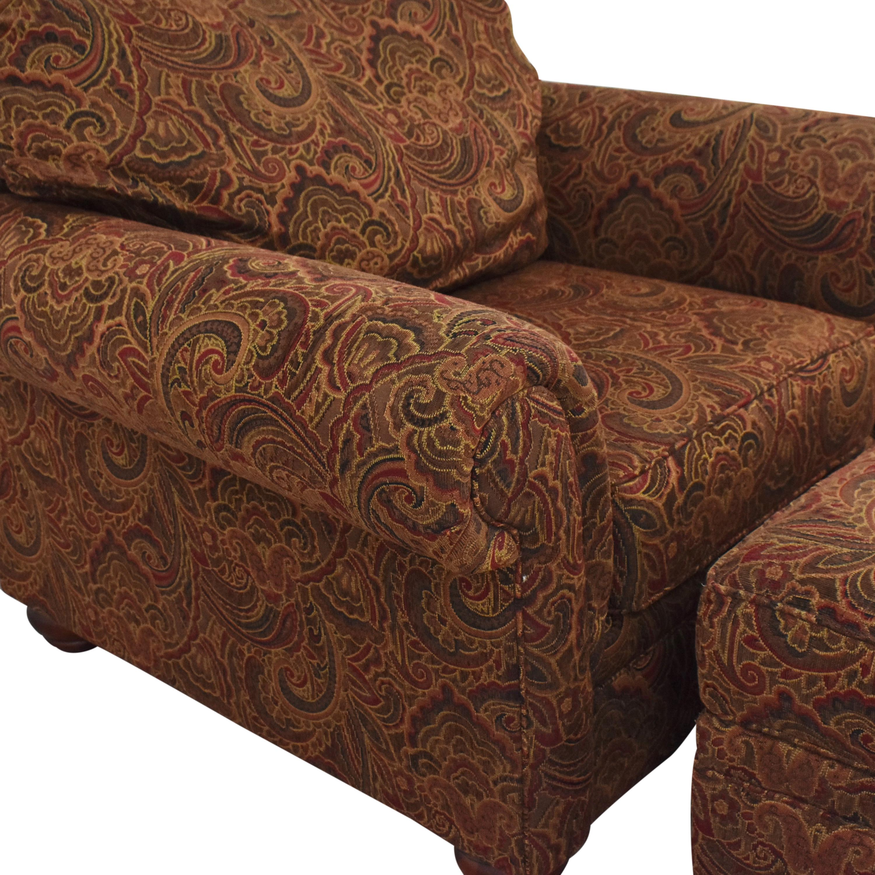 Broyhill Furniture Broyhill Furniture Roll Arm Accent Chair and Ottoman discount