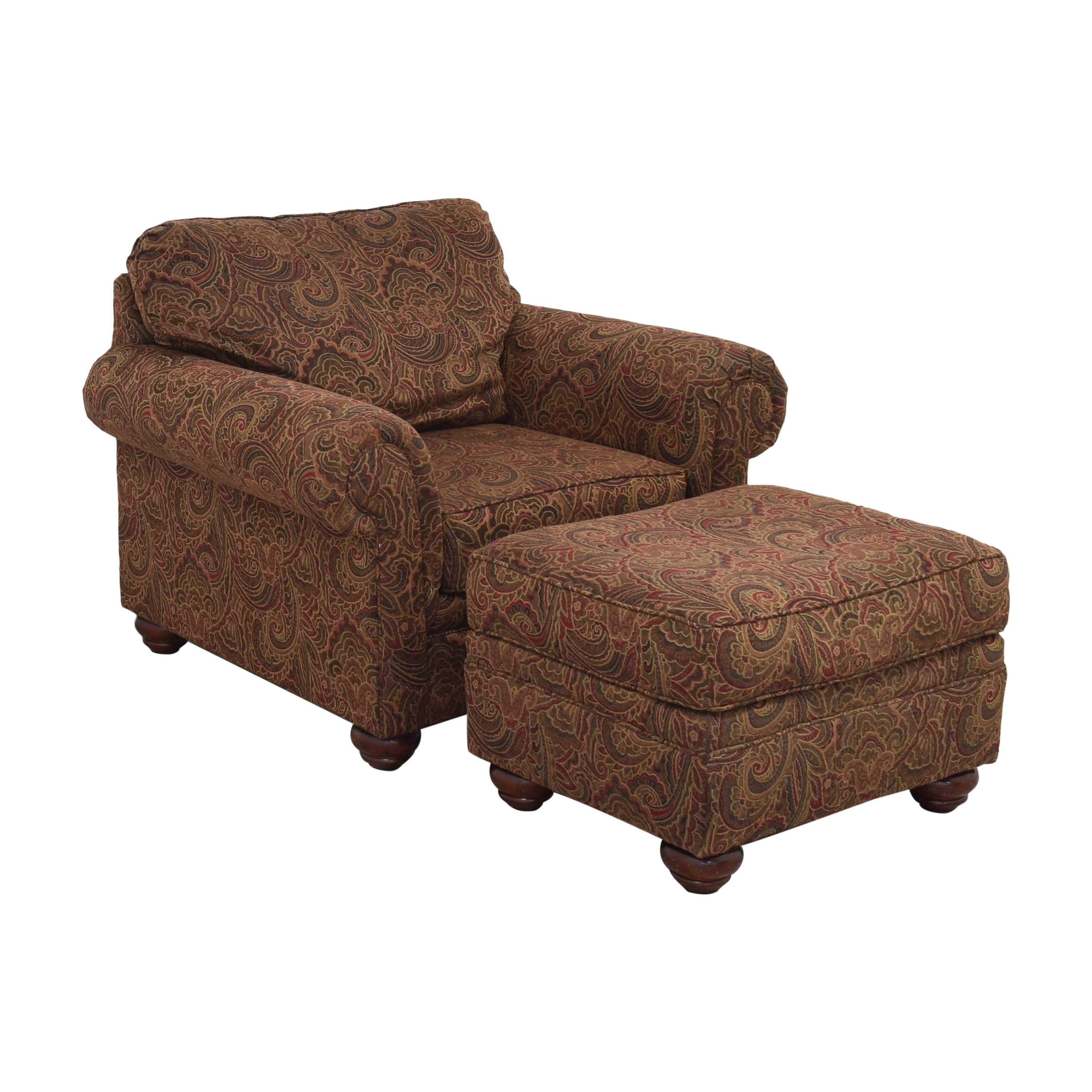 Broyhill Furniture Broyhill Furniture Roll Arm Accent Chair and Ottoman multi