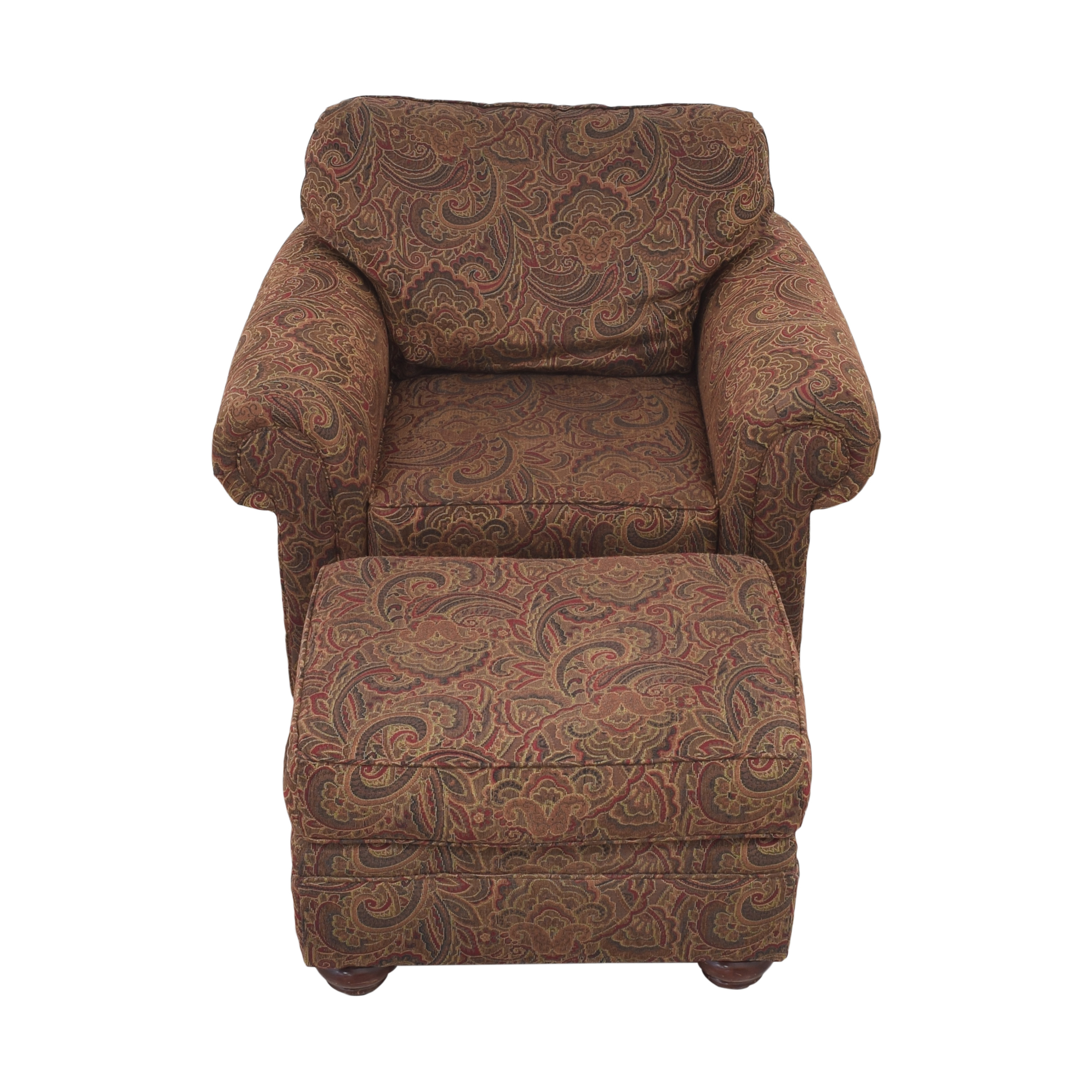 buy Broyhill Furniture Broyhill Furniture Roll Arm Accent Chair and Ottoman online