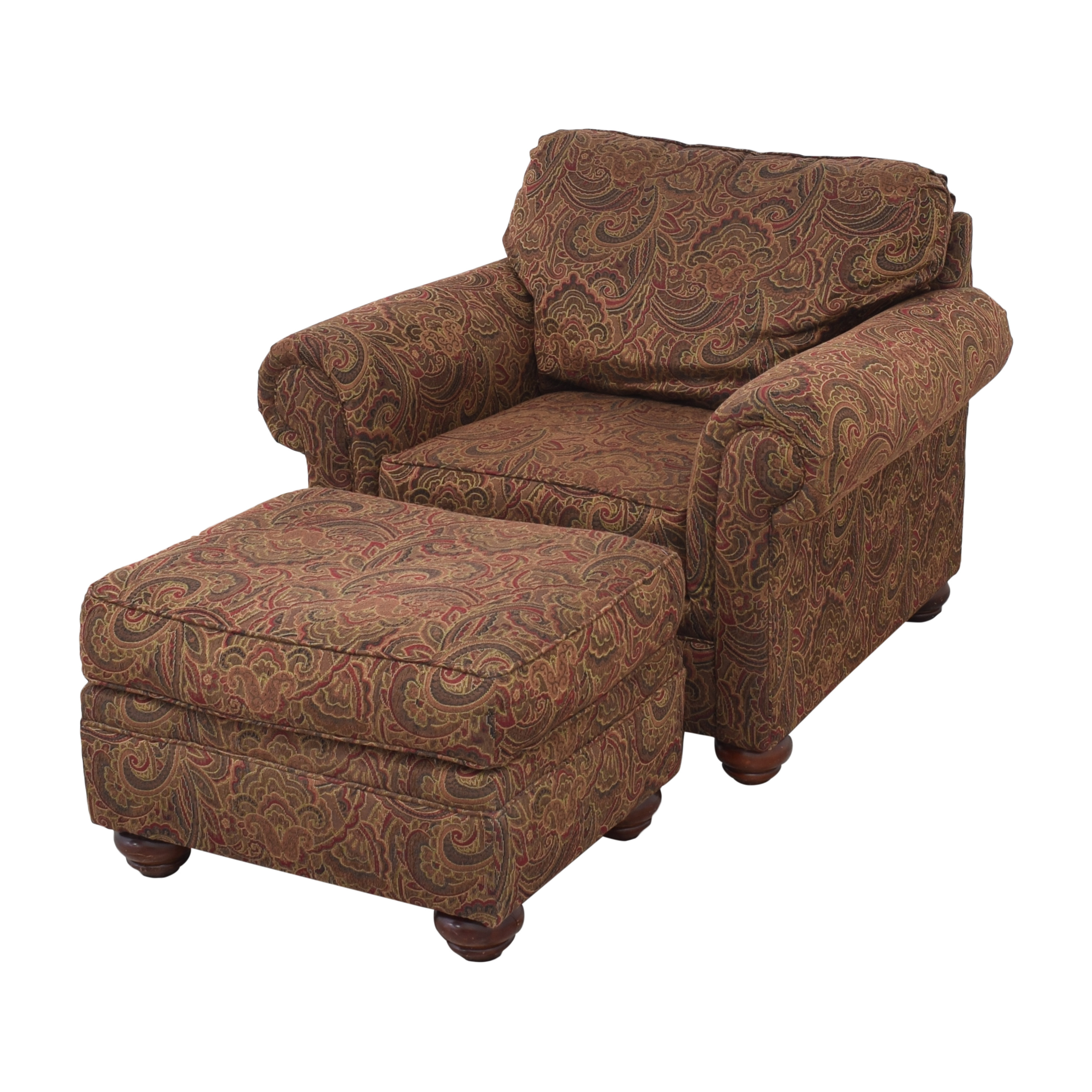 buy Broyhill Furniture Roll Arm Accent Chair and Ottoman Broyhill Furniture