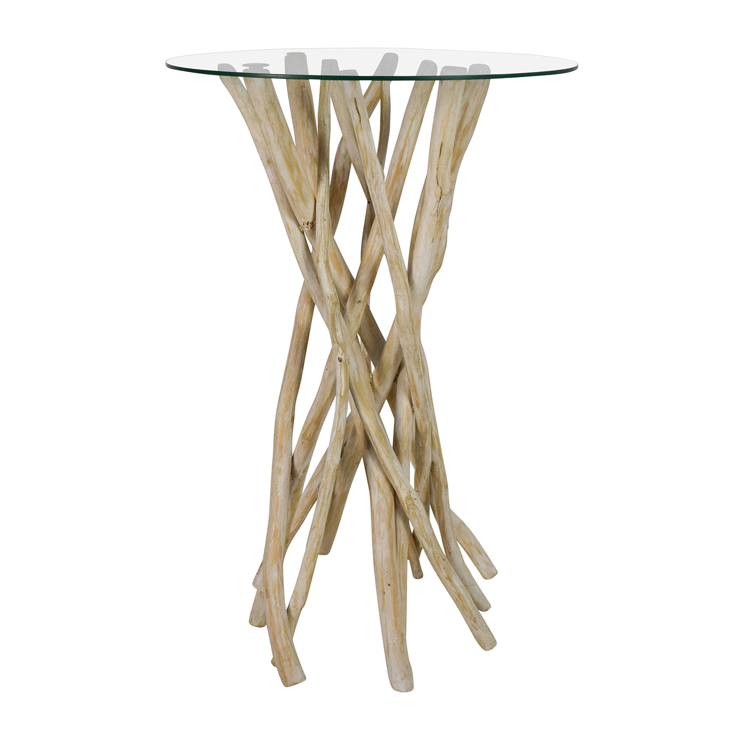 Nadeau Nadeau Rustic Wood Handcrafted Tall Glass Top End Table coupon
