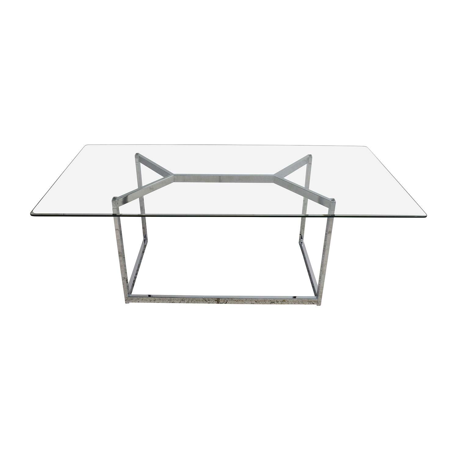 CB2 Tesso Chrome and Glass Dining Table sale