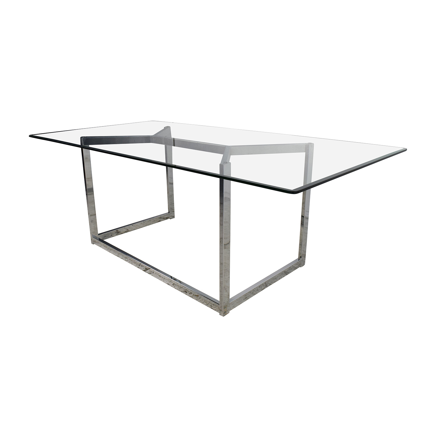 30 off cb2 cb2 tesso chrome and glass dining table tables for Glass and chrome dining table