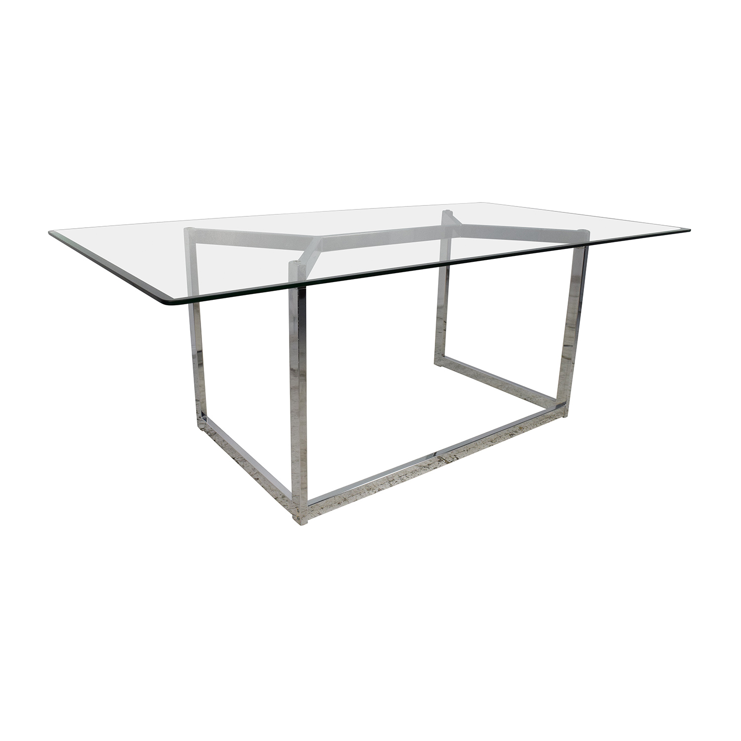 30% OFF CB2 CB2 Tesso Chrome and Glass Dining Table Tables