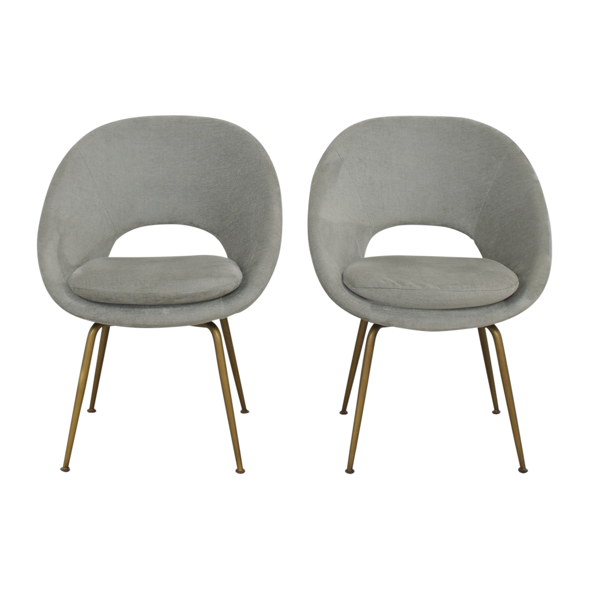 West Elm West Elm Orb Upholstered Dining Chairs gray and gold