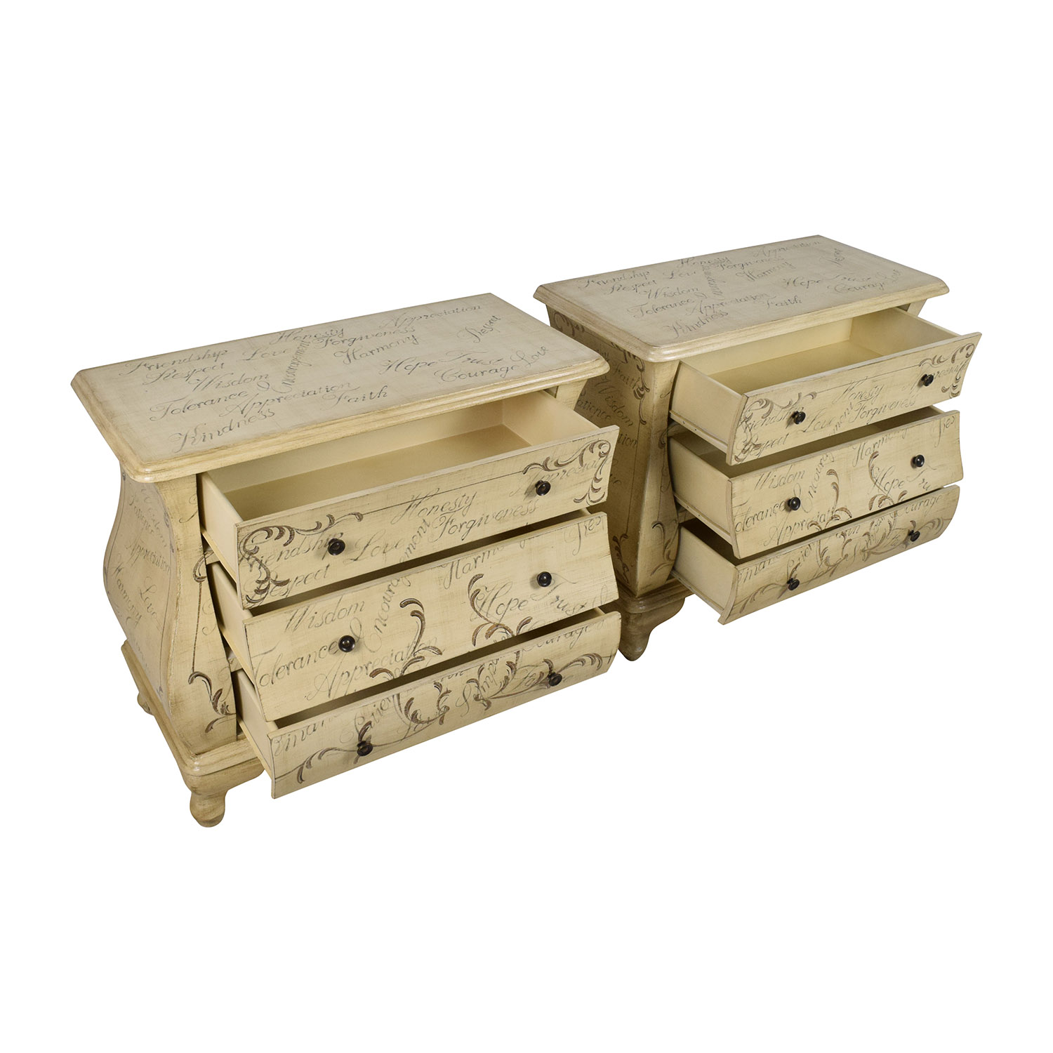 Homesquare PRI 3 Drawer Hand Painted Nightstand Pair For Sale