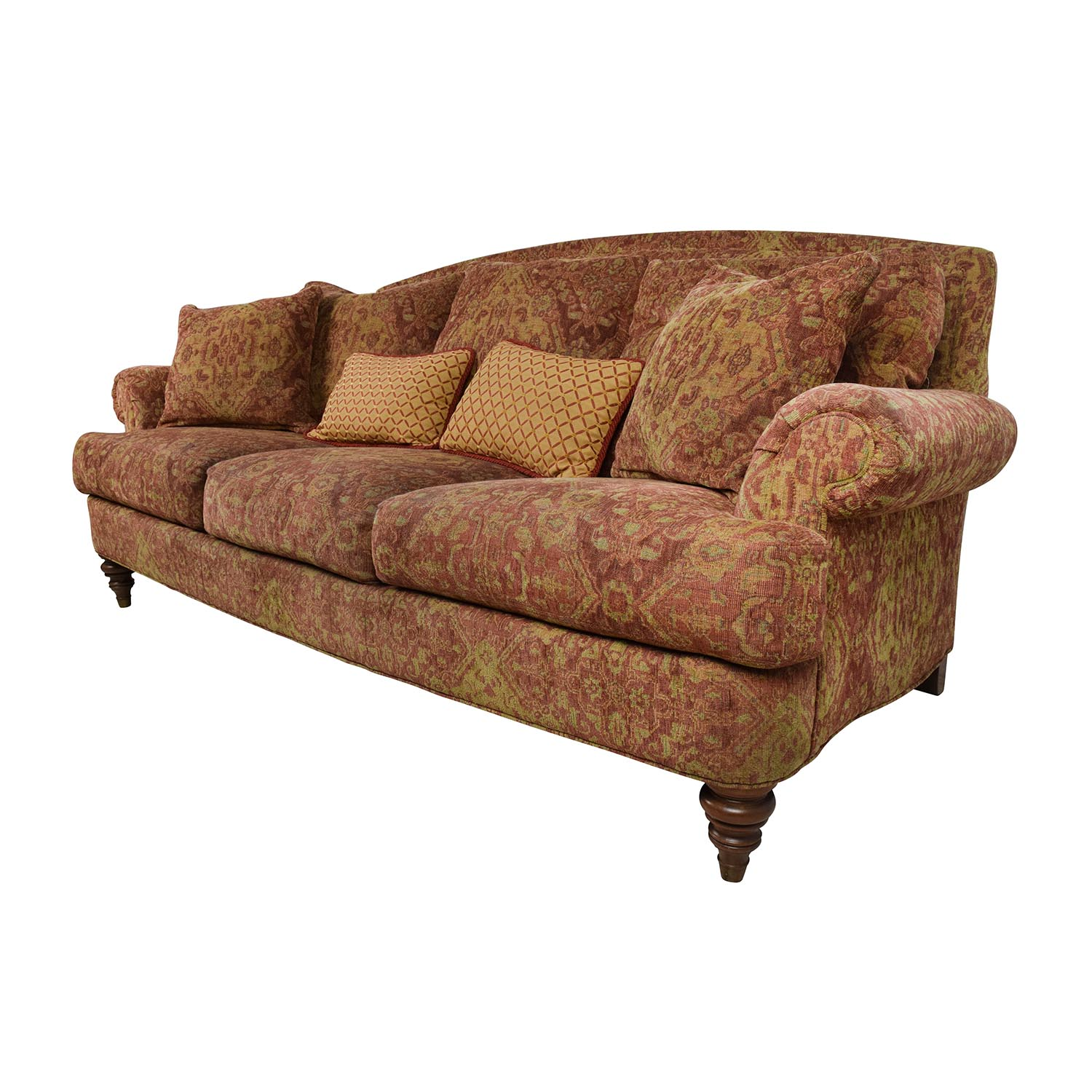 65 OFF Ethan Allen Ethan Allen Paisley Cushioned Sofa With Toss Pillows