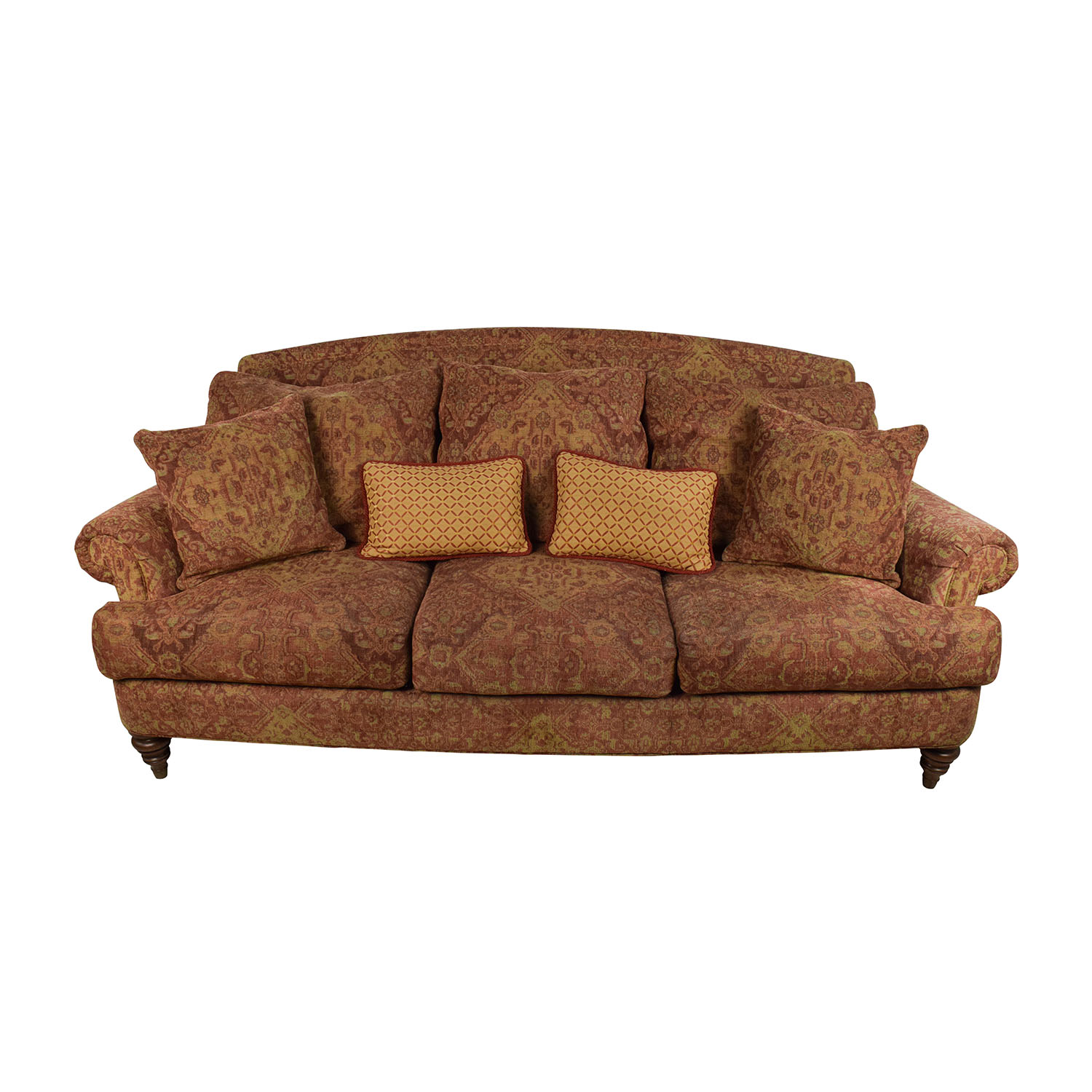 Ethan Allen Ethan Allen Paisley Cushioned Sofa with Toss Pillows coupon