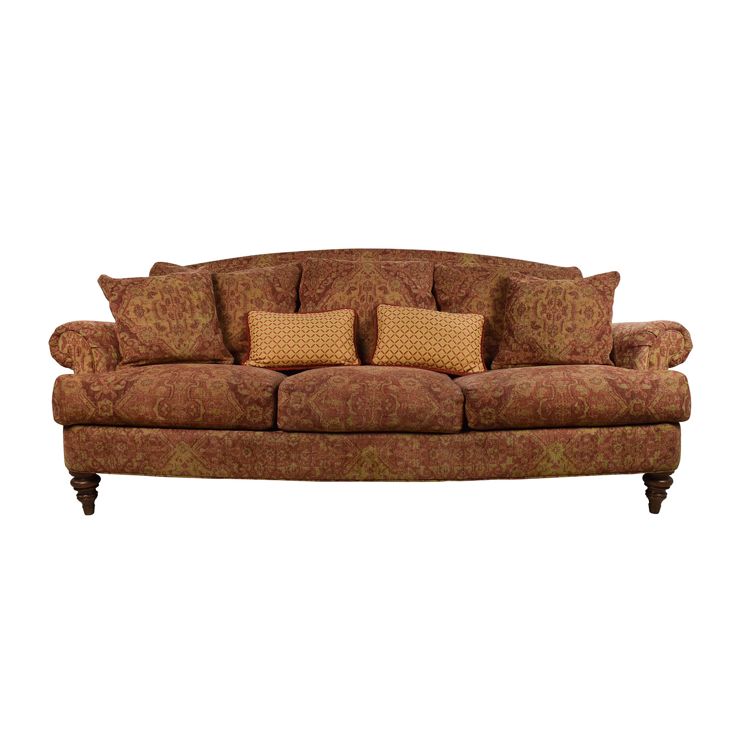 Paisley sofa elizabeth 52 tufted settee red paisley sofa for Divan and settee