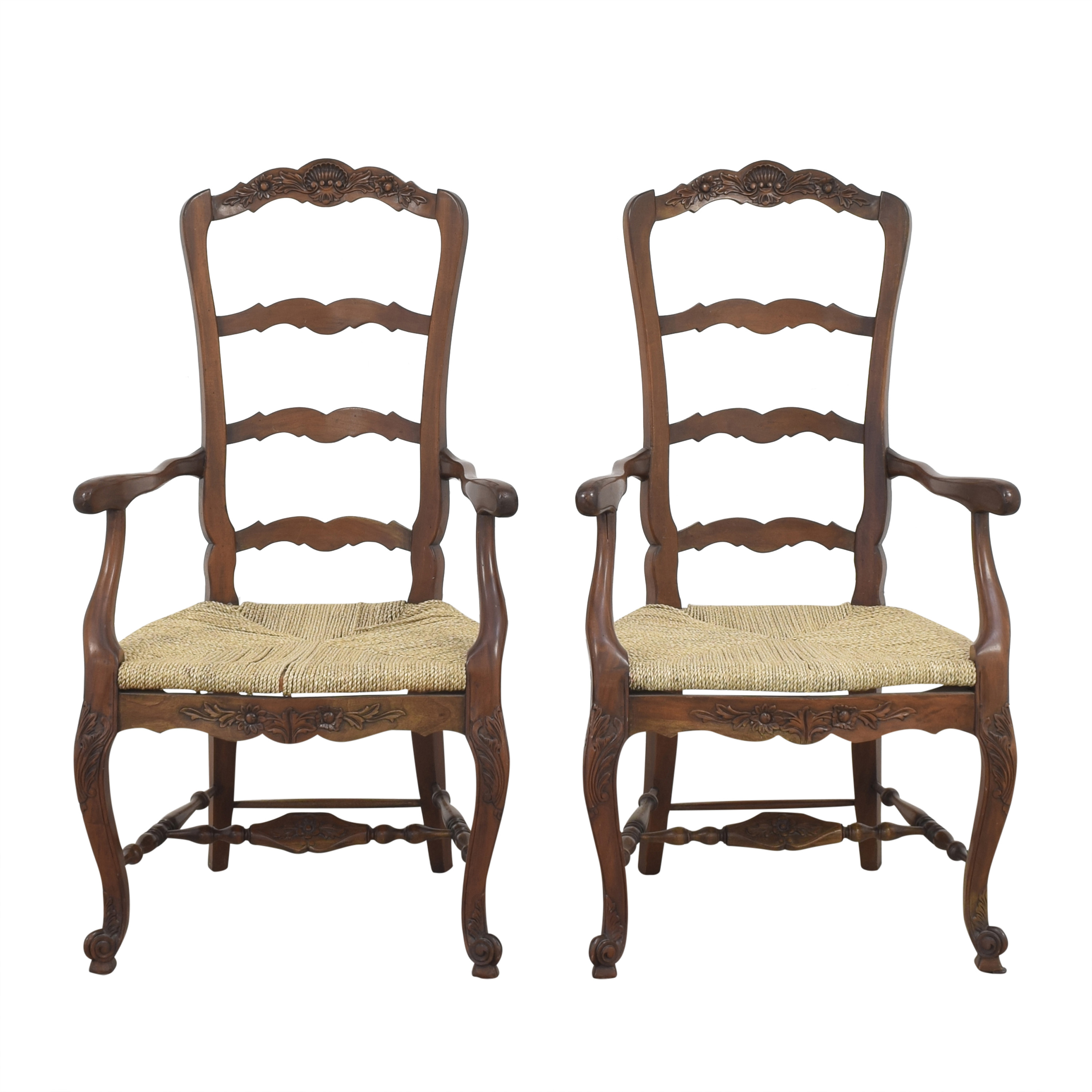 Marie Albert Marie Albert French Country Ladder Back Dining Chairs light brown and
