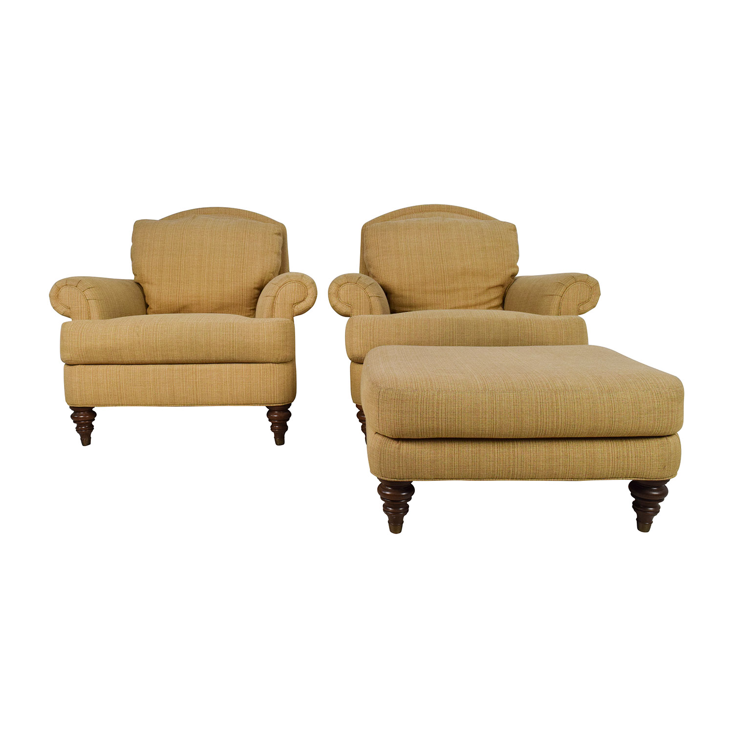 shop Ethan Allen Hyde Chair Pair and Single Ottoman Ethan Allen Sofas